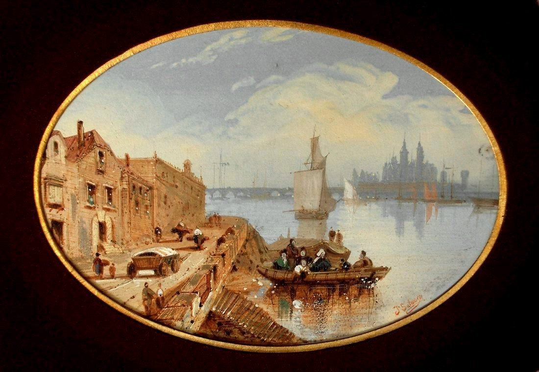 Oil Painting Seascape, Lively  Port And Cathedral Of Jules Salesse, Student Of Adrien Dauzats And Jean Paul Alaux
