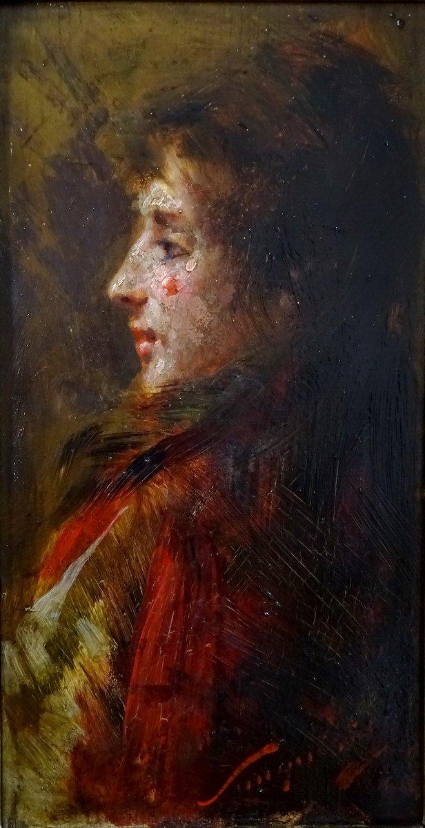 Pio Sanquirico (1847-1900), Eminent Artist  Italian School, Oil On Panel, Nice Portrait Of Young Woman In Bust-photo-2