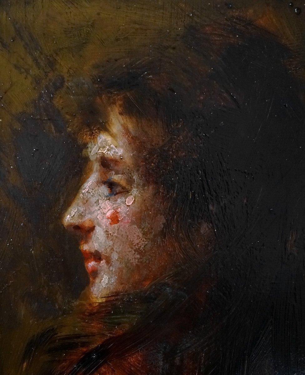 Pio Sanquirico (1847-1900), Eminent Artist  Italian School, Oil On Panel, Nice Portrait Of Young Woman In Bust-photo-3