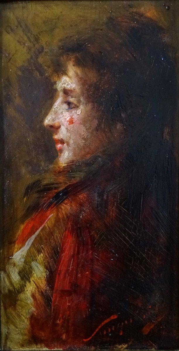Pio Sanquirico (1847-1900), Eminent Artist  Italian School, Oil On Panel, Nice Portrait Of Young Woman In Bust-photo-1