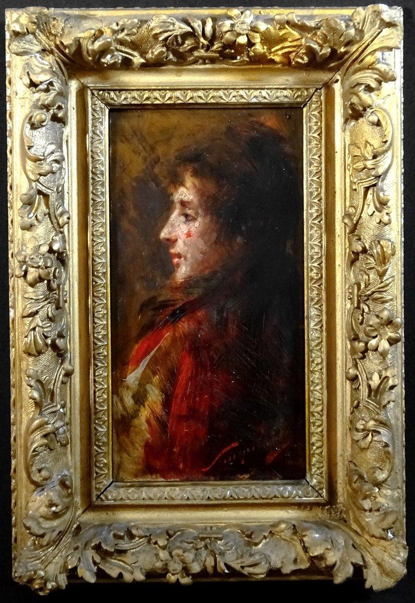 Pio Sanquirico (1847-1900), Eminent Artist  Italian School, Oil On Panel, Nice Portrait Of Young Woman In Bust-photo-7