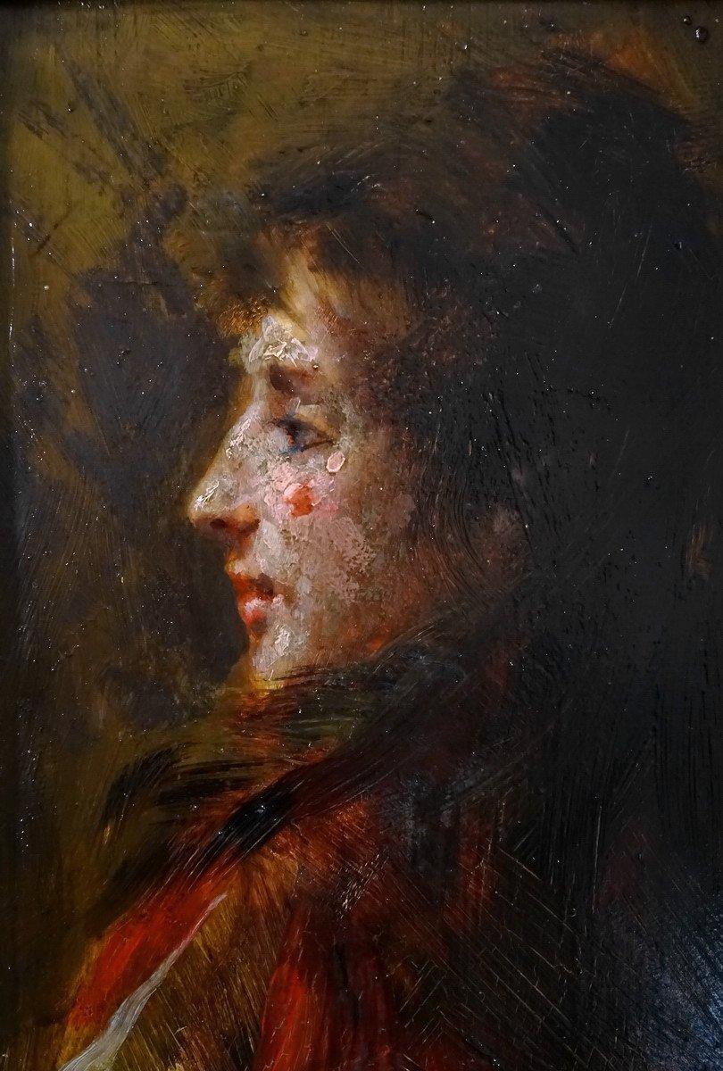 Pio Sanquirico (1847-1900), Eminent Artist  Italian School, Oil On Panel, Nice Portrait Of Young Woman In Bust-photo-6