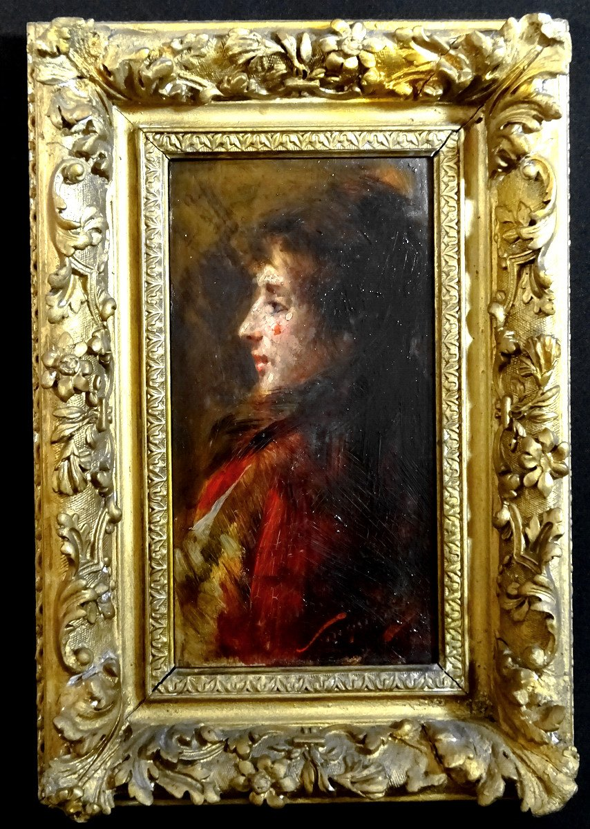 Pio Sanquirico (1847-1900), Eminent Artist  Italian School, Oil On Panel, Nice Portrait Of Young Woman In Bust