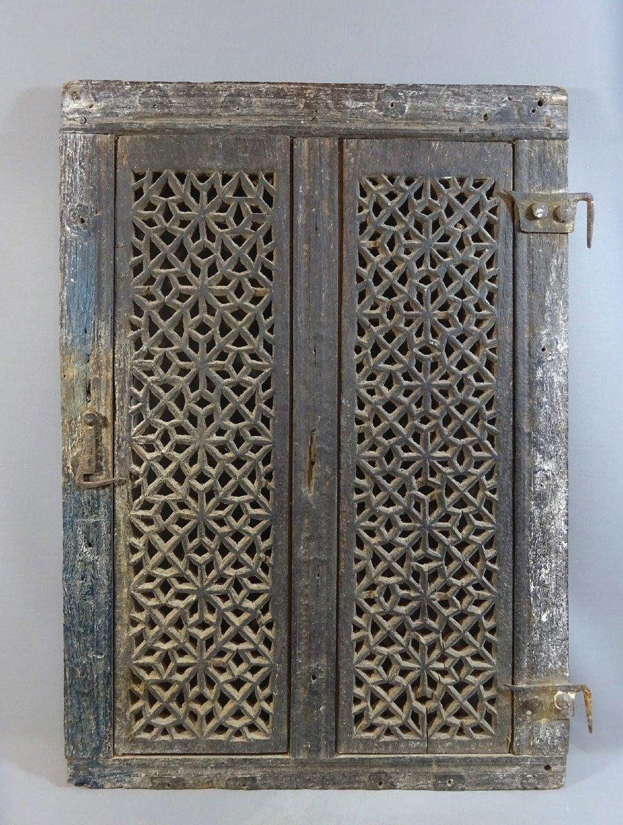 Vantail Battant de Kushk ou Shubbâk, Grille Moucharabieh en Bois Ouvragé, Travail du Yémen, Sanaa ; Avant le 17ème Siècle