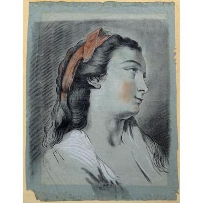 Joseph Benoit Suvee, Grand Dessin XVIIIe Sur Papier Gris/bleuté Portrait De Femme