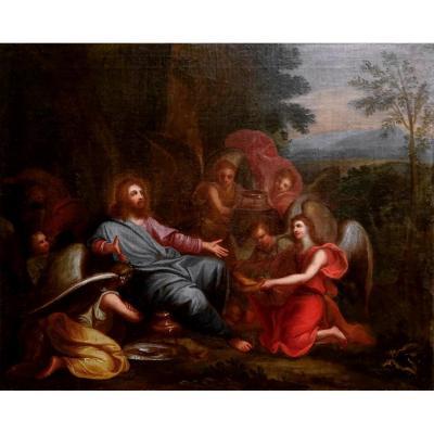 Huile S/toile, Ecole Francaise Du XVIIeme, Scène Biblique, Le Christ Entouré d' Archanges