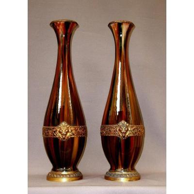 Paire d'Importants Vases du XIXeme à Glaçure Jaspée et Monture Bronze doré