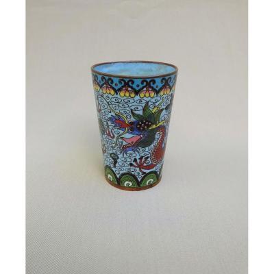 Chine XIXème, Vase en Bronze Cloisonné à Décor de Dragon & Perle Sacrée