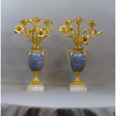 Paire de Candelabres Louis XVI, Décor De bouquets de Fleurs & marbre Turquin