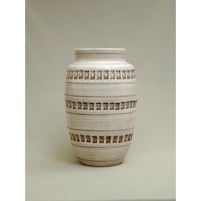Jean Besnard Important Vase Vintage à Décor de Frises Estampées à la Roulette