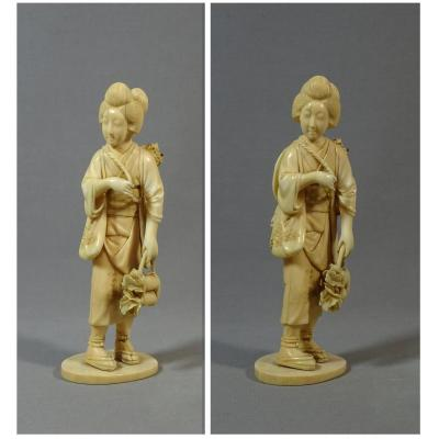 Old Okimono Ivory Sculpture Represent A Young Woman, Japan XIXth Century
