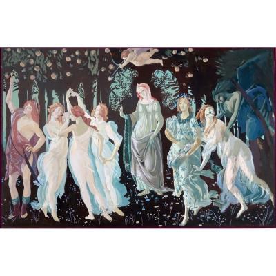 Gouache Ancienne d' Ursule Duch (1911-2004), Le Printemps d'Après Sandro  Botticelli, Epoque Art Déco