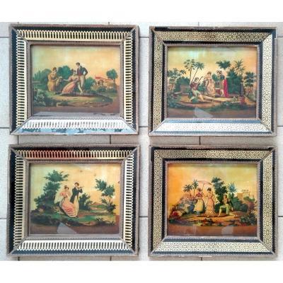 Quatre Fixés Sous Verre Romantiques, Scènes Galantes du Début du XIXème , Epoque Premier Empire