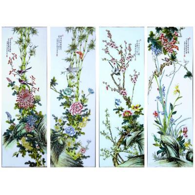 Quatre Plaques en Porcelaine de Chine à Décor de Fleurs, Oiseaux ,  papillons, criquet  ; Artistes Liu Yucen, Bi Yuanming or Cheng Yiting