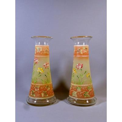 Pair Of Art Nouveau Diabolo Vases Decorated To Carnation Flowers And Virgin Vine , Legras Or Style, Circa 1900