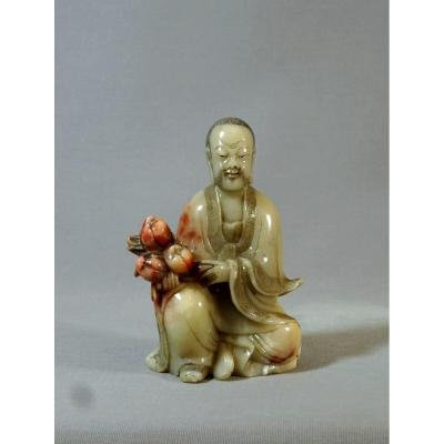 Luohan, XVIIIth China, Qing Dynasty, Qianlong Period, Soapstone Statuette In Gray Green Celadon And Crimson Infused