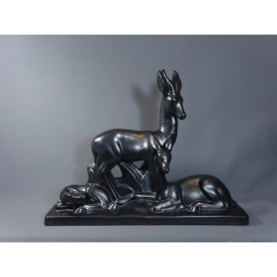 Charles Lemanceau, Important Glossy Black Ceramic,  Art Deco Period Sculpture Figuring Antelopes Or Gazelles