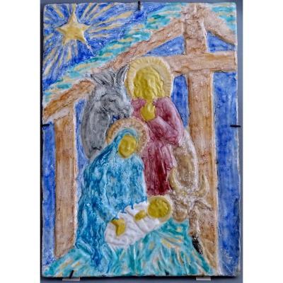 Edouard Cazaux Grand Carreau Plaque Céramique, La Nativité Ou La Sainte Famille, Epoque Art-Déco