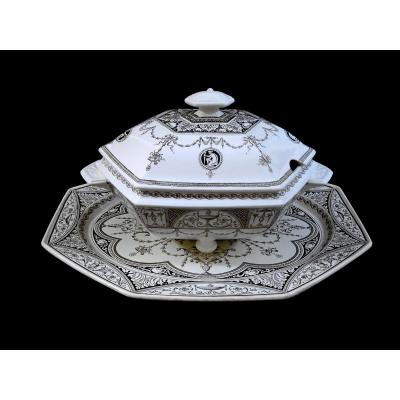 England Minton  Holland Decor, Important Pans Terrine And Its Sleeping Tray, Decorated In Bistre Tones Shades, Circa 1880