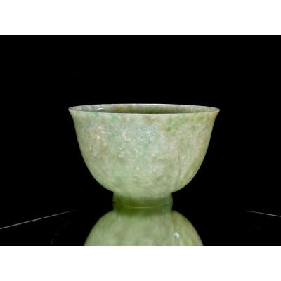 China, Translucent Celadon Jade Speckled Old Cup Or Bowl Resting On Small Base, Qing Period, Late 19th-early 20th