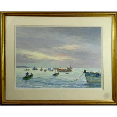 Jean Le Neuthiec , Peinture Bretonne, Bord De Mer Animé De Bateaux Et  Pêcheurs