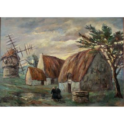 Fred Pailhes Peinture Huile Sur Isorel Figurant Un Paysage, Personnages Féminins,  Chaumiere & Moulin En Bretagne
