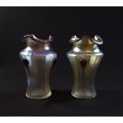 Pair Of Art Nouveau Vases, Jugendstil Iridescent Bohemian Glass, Work By Wilhem Kralik Or Johann Loetz Witwe