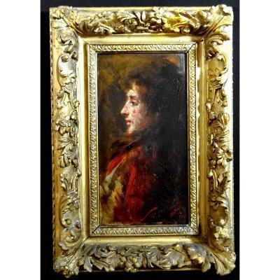 Pio Sanquirico (1847-1900) Ecole Italienne, Huile Sur Panneau Beau Portrait De Jeune Femme En Buste