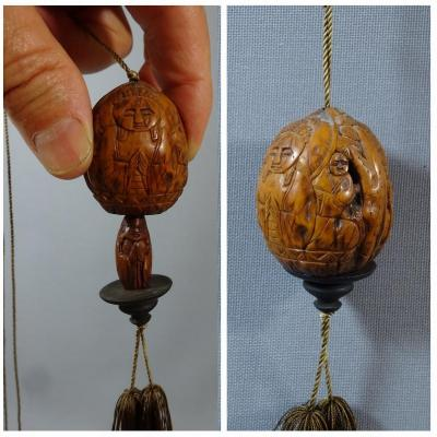 Japan Meiji Era, Walnut Carved Of A Buddha And Lohans, A Second Buddha In Pendant Inside, Signed