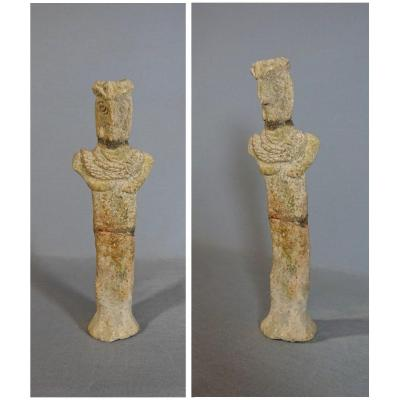Statuette Anthropomorphe Stylisée à Bec d'Oiseau, Parée d'un Collier. Art Syro-hittite, Fin du IIe-Début du IIIe millénaire av. J.-C.