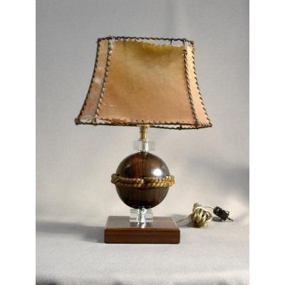 Singulière & Belle Lampe de Designer d'Epoque Art Déco en Ebène de Macassar, Cristal et Cordage. Vers 1930