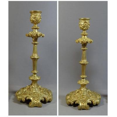 Paire De Flambeaux Du XIXème Siècle En Bronze Doré Richement Ouvragé, Décor de Mascarons féminins, fleurs etc
