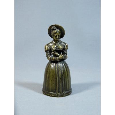 Clochette de Table Ou Sonnette en Bronze,  Début du XIXeme, Dame de la  Cour en Toilette ; Peut-être Madame du Barry