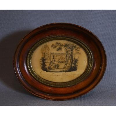Miniature Intéressant Dessin Hollandais, Encre et Lavis sur Papier, Scène Romantique au Revers d'une Lettre d'Amour Datée 1849