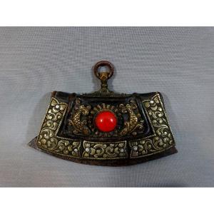 Briquet Tibétain, Inde Tibet XIXeme Siècle, Avec Pochette à Silex et Etoupe