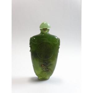 Beau Flacon Tabatière ou Snuff Bottle du XIXeme en Jade  Vert Épinard, de Forme Gourde à Panse Aplatie