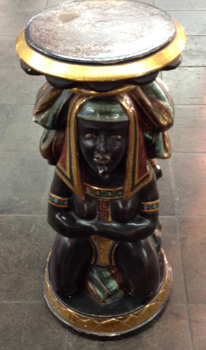 Sculpture Vénitienne d'époque Nap.iii En Bois Polychromé ,retour Egypte