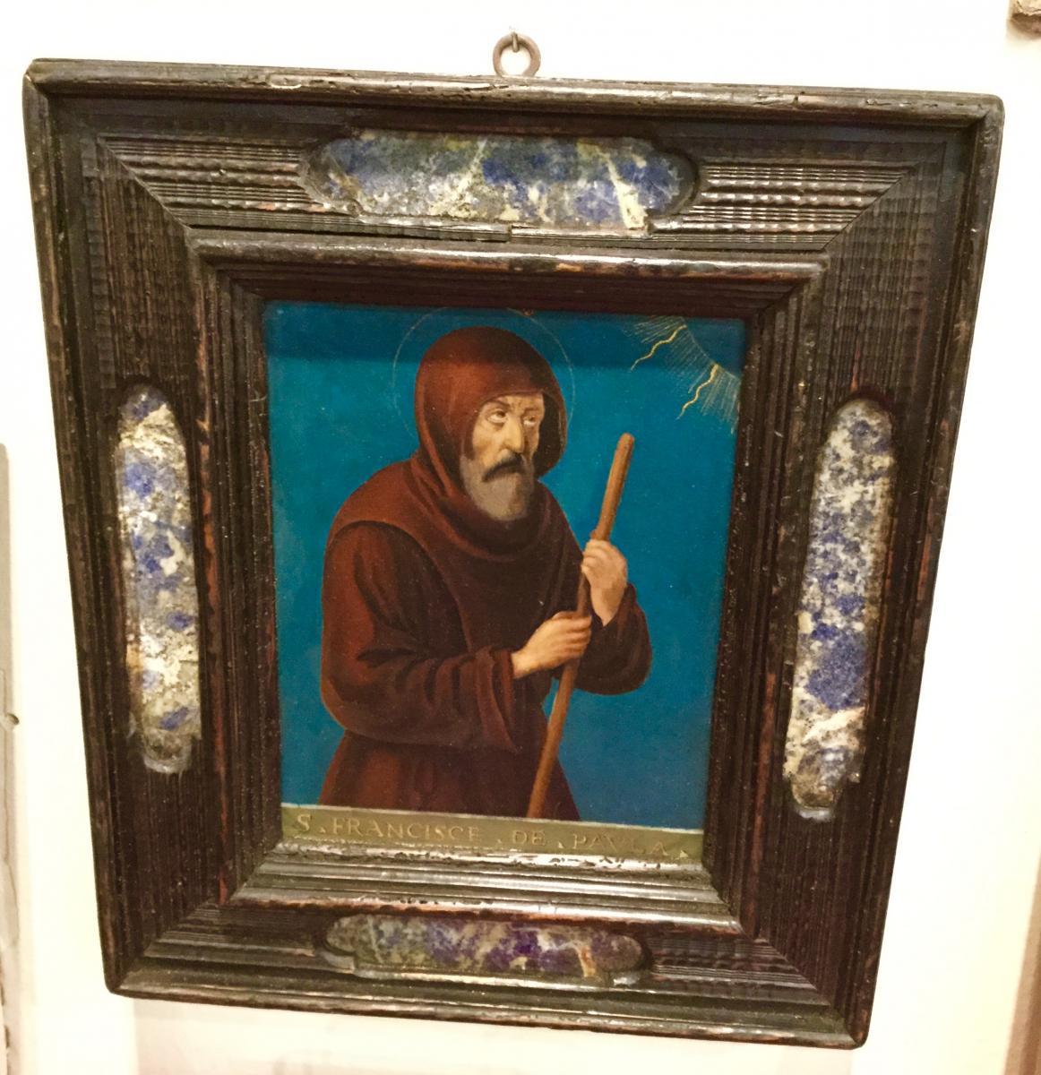Saint Francois De Padoue, Oil On Copper (xvii) In An Italian Frame (xix)