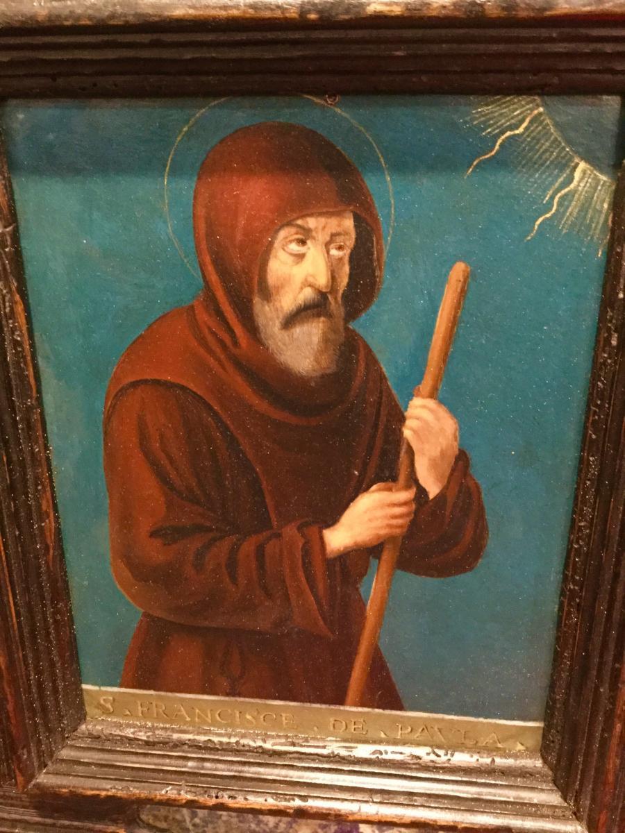Saint Francois De Paule ,Huile Sur Cuivre ( XVII) Dans Un Cadre Italien ( XIX ) -photo-2
