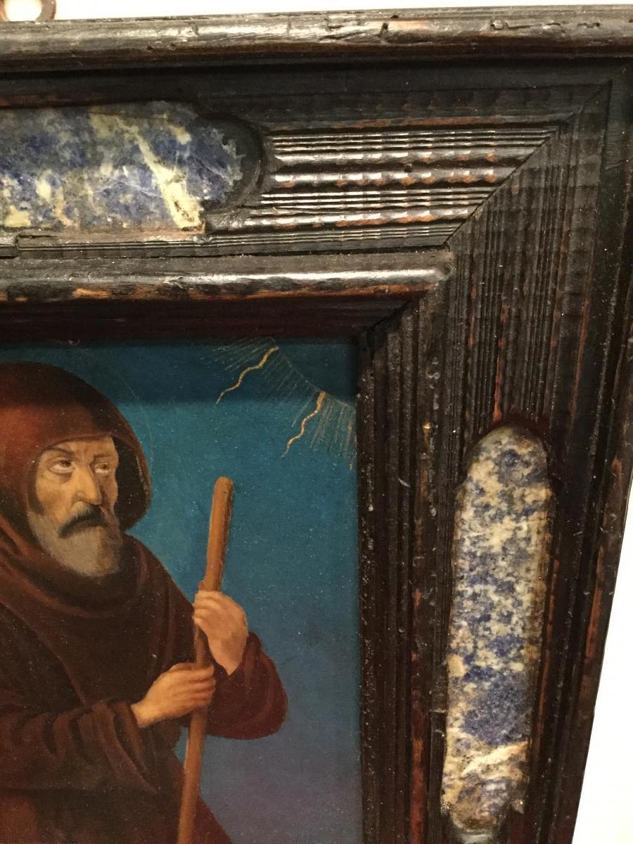 Saint Francois De Paule ,Huile Sur Cuivre ( XVII) Dans Un Cadre Italien ( XIX ) -photo-3