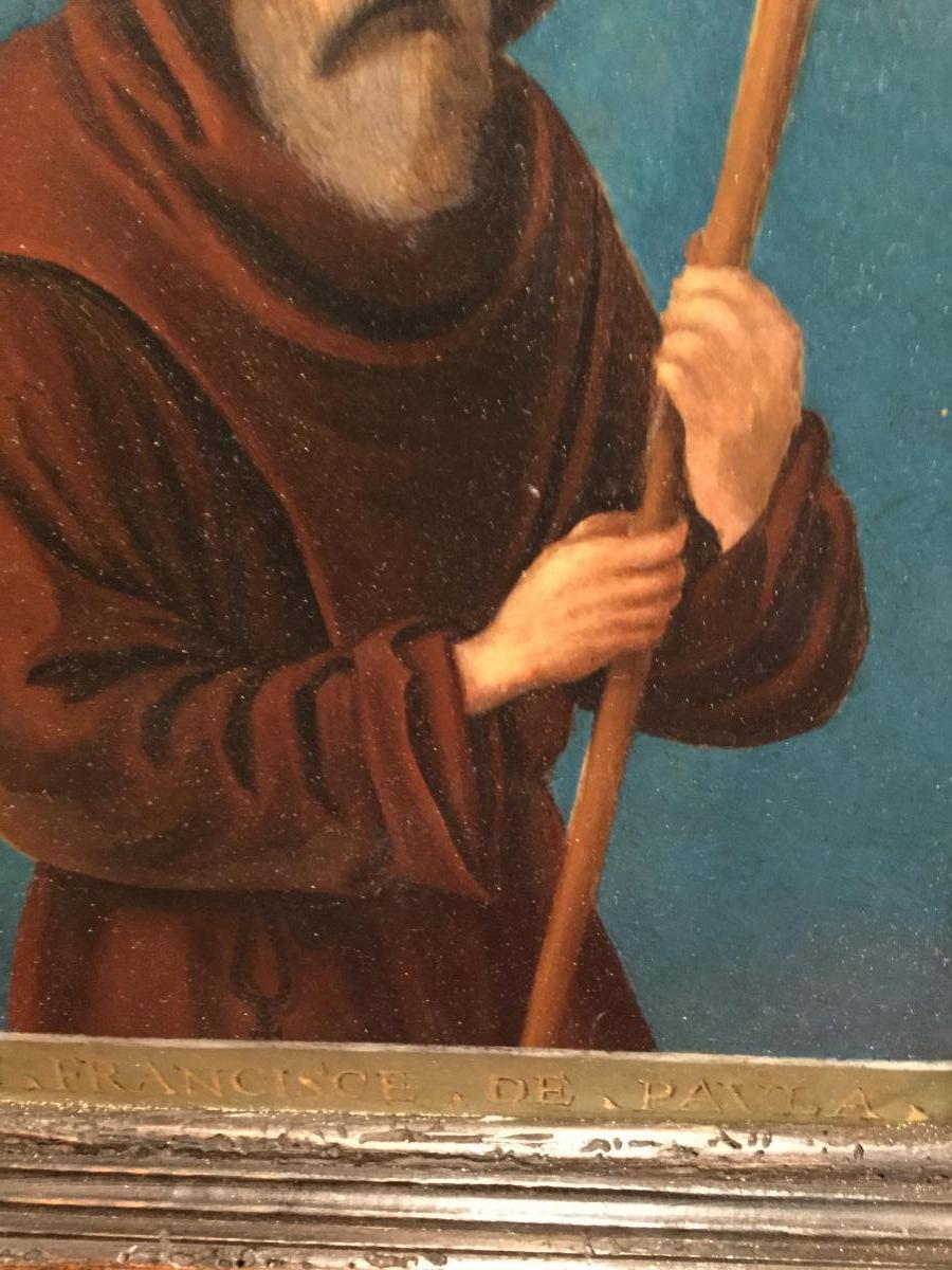 Saint Francois De Paule ,Huile Sur Cuivre ( XVII) Dans Un Cadre Italien ( XIX ) -photo-1