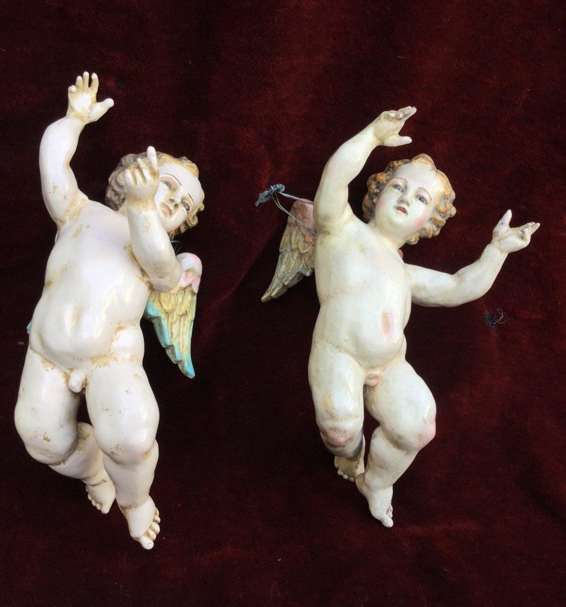 Paire De Petites Angelots En Terre Cuite,polychromé,italie XIXe