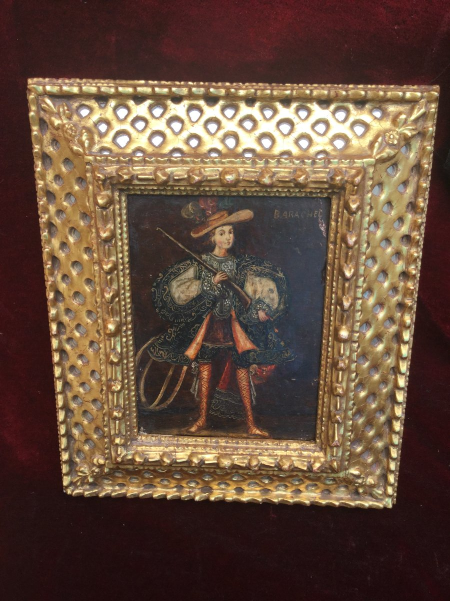 Colonial Painting: De Cuszco School (peru): Gentleman With Rifle, Early 19th Century
