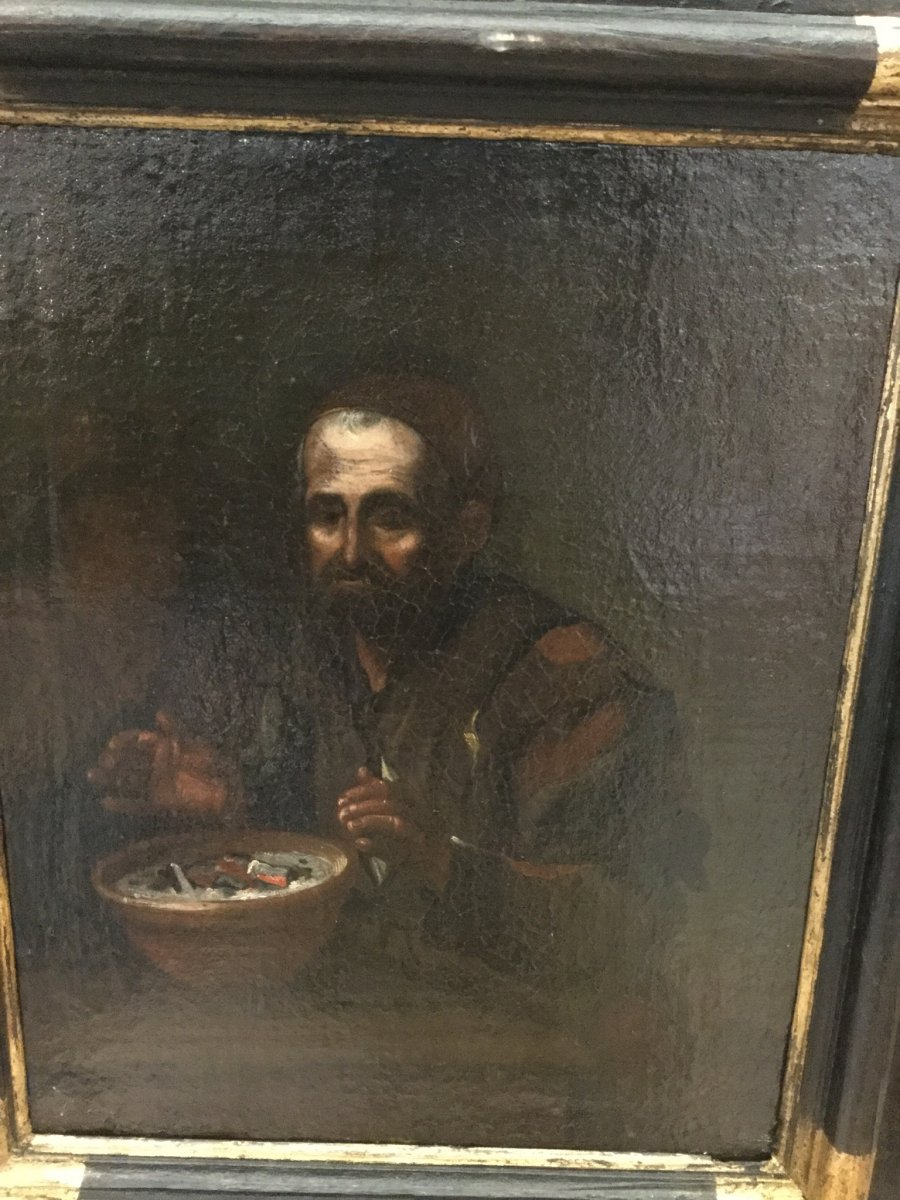 Painting, M. Sweerts Attributed, Old Man Warming Himself In A Dark Interior, Flanders 17th