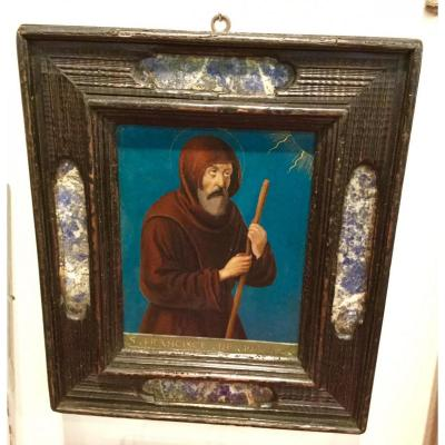 Saint Francois De Padoue, Oil On Copper (xvii) In An Italian Frame (xix)