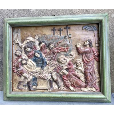 Sculpture  (bas Relief),bois Peint,la Mise Au Tombeau Du Christ, Flandre XVIIe