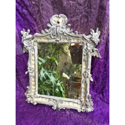 &nbsp;Decorative frame, solid wood, sculpted in the taste of &quot; Rokoko &quot;: rocailles and flowers, painted ( silver ).<br /> Austrian work from the late XIX.century ( Napoleon III).<br /> restaured condition&nbsp;