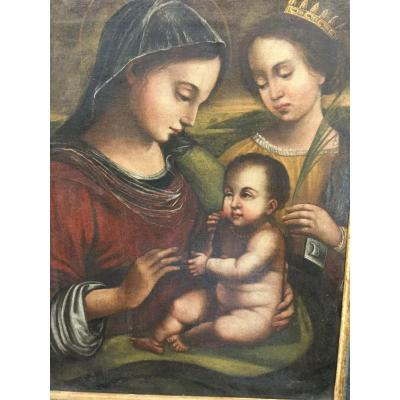 Madonna And Child (with Cherries) Accompanied By Saint Catherine, Italian Painting, XVIth