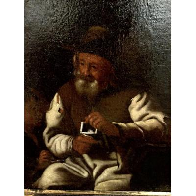 Painting, M. Sweerts, Attr .: Old Man Knitting With Young Boy, Flanders 7th