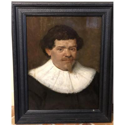 Portrait Of A Man With A White Collar, Oil On Wood, 17th Century Dutch School